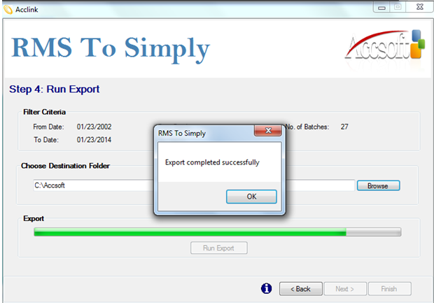 RMS to Simply enhances Microsoft Retail Management System functionality by allowing the export of journal entries. The utility generates a text (.txt) file that can easily be imported into the Simply system. RMS to Simply is a stand-alone wizard-type application that connects to the RMS database and performs the operation. Its user-friendly interface provides a swift export process.