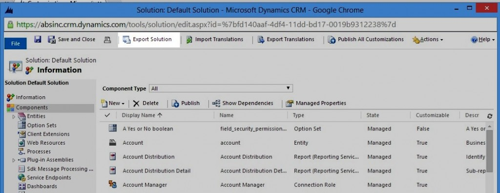 Export Solution button in Customize the System Window in Microsoft Dynamics CRM